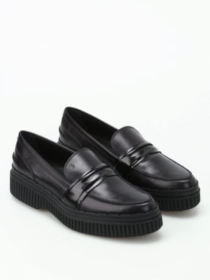 Tod'S: Loafers & Slippers online - Black leather maxi sole loafers