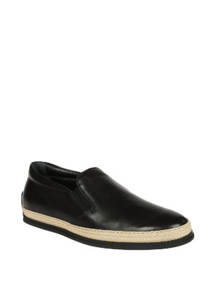 Tod'S: Loafers & Slippers online - Black leather slip-ons