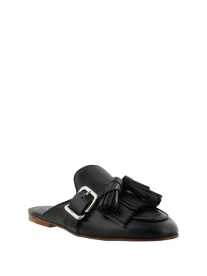 Tod'S: Loafers & Slippers online - Black leather slippers with tassels