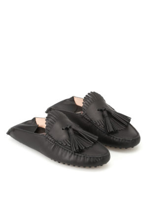 Tod'S: Loafers & Slippers online - Black leather tasselled slippers