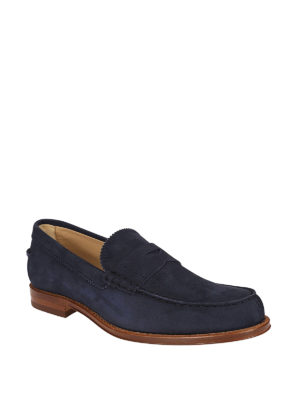 Tod'S: Loafers & Slippers online - Blue suede classic loafers