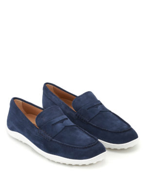 Tod'S: Loafers & Slippers online - Blue suede loafers
