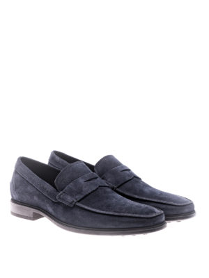 Tod'S: Loafers & Slippers online - Blue suede loafers with rubber sole