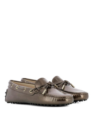 Tod'S: Loafers & Slippers online - Brown metallic leather loafers