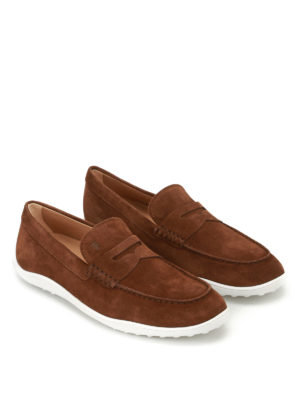 Tod'S: Loafers & Slippers online - Brown suede loafers