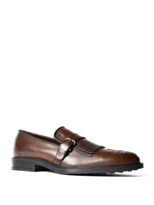 Tod'S: Loafers & Slippers online - Buckled fringed leather loafers
