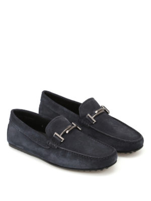 Tod'S: Loafers & Slippers online - City Gommino blue suede loafers