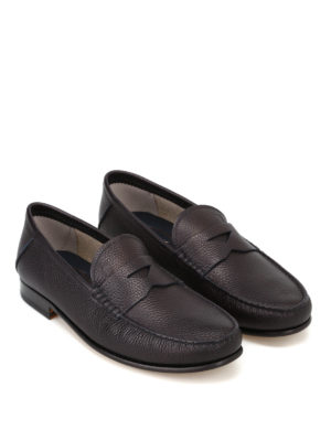 Tod'S: Loafers & Slippers online - Dark blue grainy leather loafers