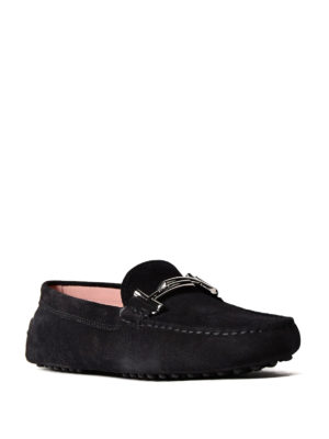 Tod'S: Loafers & Slippers online - Double T black suede loafers