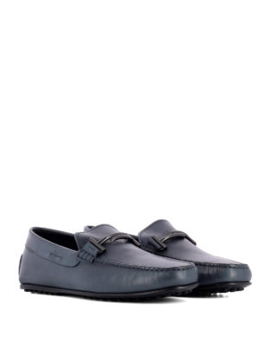 Tod'S: Loafers & Slippers online - Double T blue leather loafers