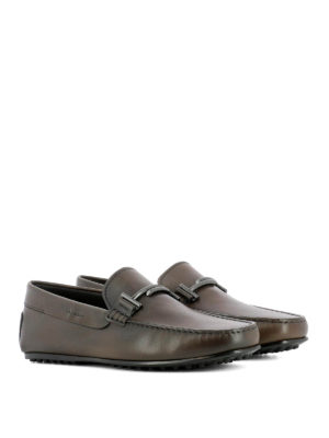 Tod'S: Loafers & Slippers online - Double T brown leather loafers
