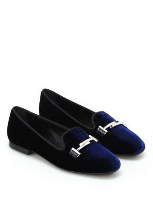 Tod'S: Loafers & Slippers online - Double T dark blue velvet slippers