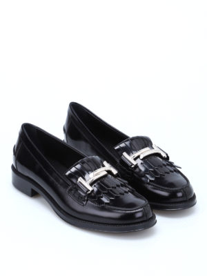 Tod'S: Loafers & Slippers online - Double T fringed leather loafers