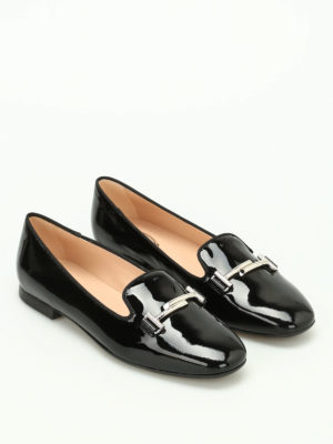Tod'S: Loafers & Slippers online - Double T patent leather slippers