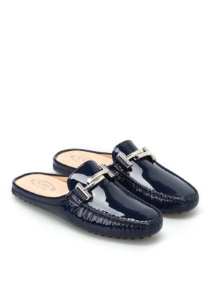 Tod'S: Loafers & Slippers online - Double T patent slippers