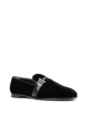 Tod'S: Loafers & Slippers online - Double T quilted velvet loafers