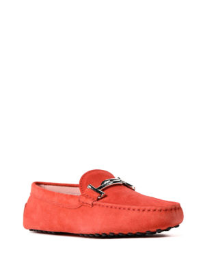 Tod'S: Loafers & Slippers online - Double T red suede loafers