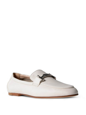 Tod'S: Loafers & Slippers online - Double T white leather loafers