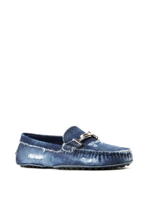 Tod'S: Loafers & Slippers online - Double T worn out denim loafers