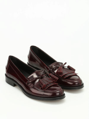 Tod'S: Loafers & Slippers online - Embellished brushed leather loafers