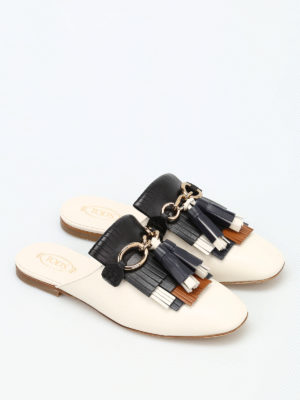 Tod'S: Loafers & Slippers online - Fringe and tassels leather slippers