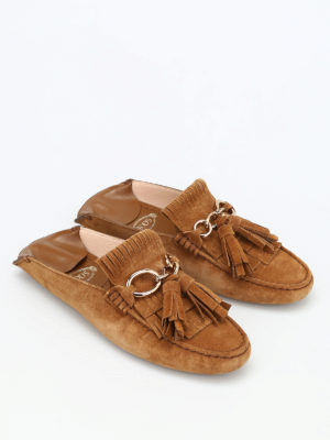 Tod'S: Loafers & Slippers online - Fringed leather loafers slippers
