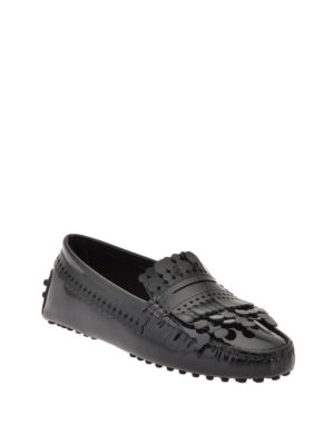 Tod'S: Loafers & Slippers online - Fringed patent leather loafers