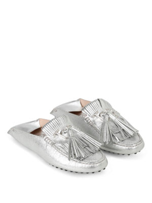 Tod'S: Loafers & Slippers online - Fringed silver loafers with tassels