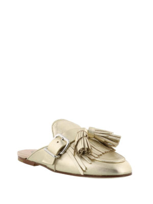 Tod'S: Loafers & Slippers online - Gold leather slippers with tassels