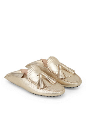 Tod'S: Loafers & Slippers online - Gold leather tassel slippers