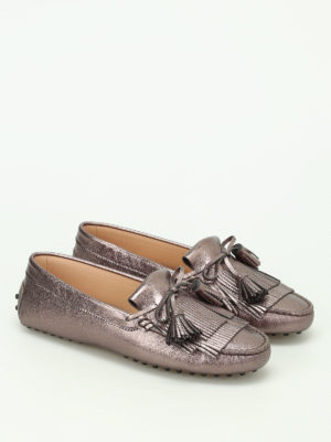 Tod'S: Loafers & Slippers online - Gommini metallic leather loafers
