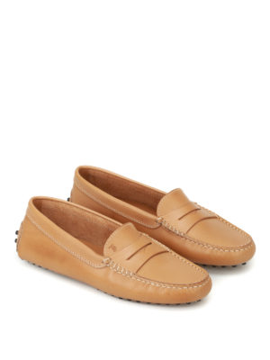 Tod'S: Loafers & Slippers online - Gommino beige leather loafers