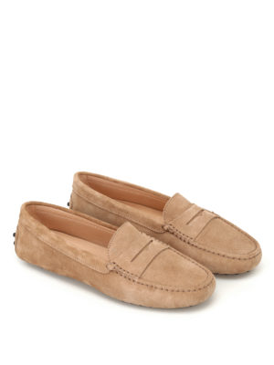 Tod'S: Loafers & Slippers online - Gommino beige suede driving shoes