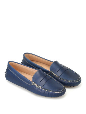 Tod'S: Loafers & Slippers online - Gommino blue leather driving shoes