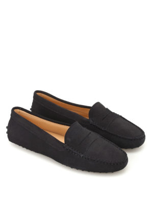 Tod'S: Loafers & Slippers online - Gommino blue suede driving shoes