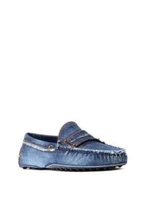Tod'S: Loafers & Slippers online - Gommino denim loafers