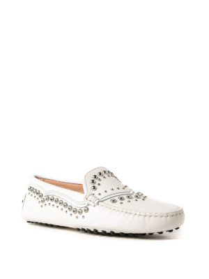 Tod'S: Loafers & Slippers online - Gommino embellished white loafers