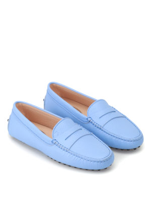 Tod'S: Loafers & Slippers online - Gommino light blue leather loafers
