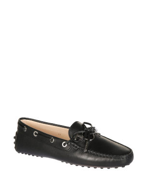 Tod'S: Loafers & Slippers online - Gommino logo black leather loafers