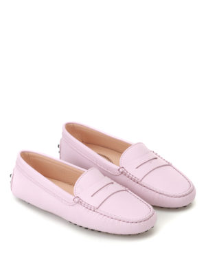 Tod'S: Loafers & Slippers online - Gommino pink leather loafers