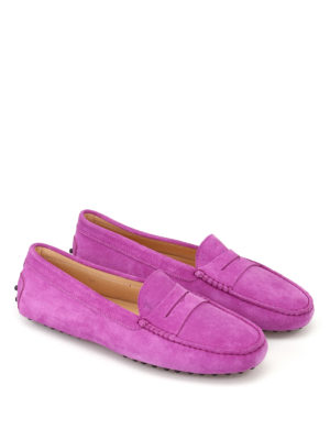 Tod'S: Loafers & Slippers online - Gommino violet suede driving shoes
