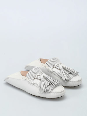 Tod'S: Loafers & Slippers online - Gommino white leather slippers