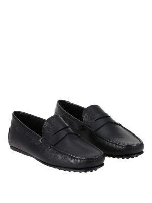 Tod'S: Loafers & Slippers online - Hammered leather City black loafers