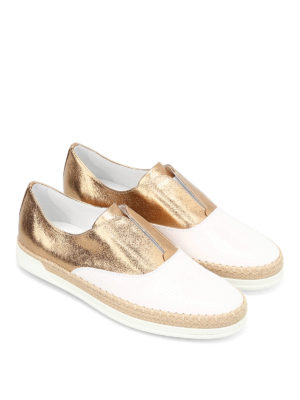 Tod'S: Loafers & Slippers online - Leather and raffia Oxford slip-ons