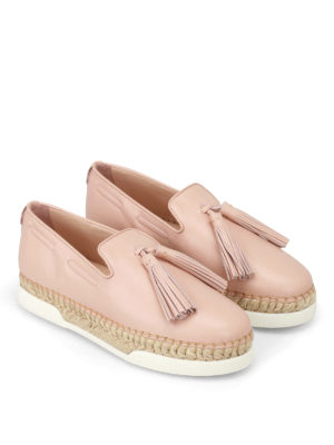 Tod'S: Loafers & Slippers online - Light pink leather tassel slip-ons