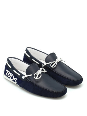 Tod'S: Loafers & Slippers online - Logo patch blue loafers