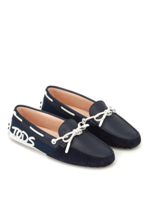 Tod'S: Loafers & Slippers online - Logo patch dark blue loafers