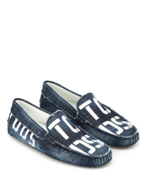 Tod'S: Loafers & Slippers online - Logo print faded denim loafers