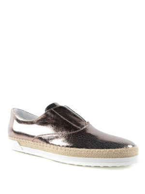Tod'S: Loafers & Slippers online - Metallic leather and raffia slip-on