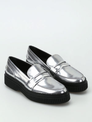 Tod'S: Loafers & Slippers online - Metallic leather maxi sole loafers